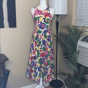 Vintage 90s bold print cotton racer back dress